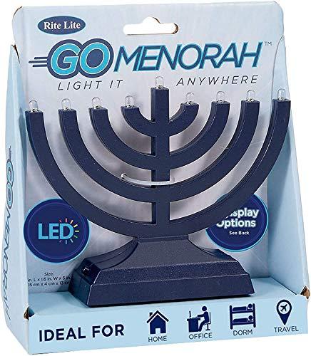 Rite Lite Go Electric LED Chanukah Menorah, 9x2x7, Blue - Bright Hanukkah Electric Menorah
