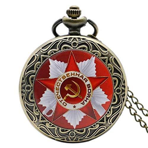 MOLINB Taschenuhr Retro CCCP Russland Sowjetunion Russische Flagge Hammer Abzeichen Sichel Taschenuhr Haken Design UDSSR Halskette Kette Geschenk für Männer Frauen