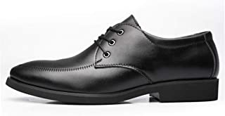 Bin Zhang Dress Oxfords for Men Business Loafers Lace up Microfiber Leather Pointed Toe Block Heel Solid Color Vegan Soft Sewing Thread (Color : Black, Size : 8 UK)