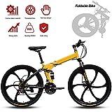 Jjwwhh Adultos Plegable Mountain Bike Bicicletas de Amortiguador portátil Boy Adultos y Hombre Kit Chica de la Bicicleta de la Bicicleta/Amarillo