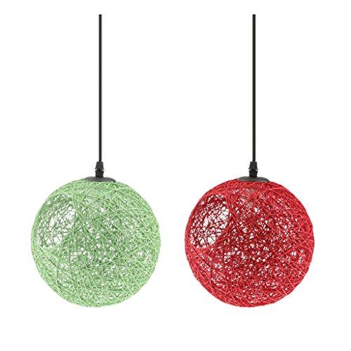 Sharplace 2Pcs Lampe Suspension en Rotin avec Câble Boule de Globe Plafond Suspension Décor 20cm Rouge / Vert