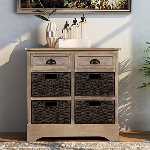 Harper & Bright Designs Rustic Storage Cabinet with Two Drawers and Four Classic Fabric Basket for Kitchen/Dining Room/Entryway/Living Room, Accent Furniture (White Washed)