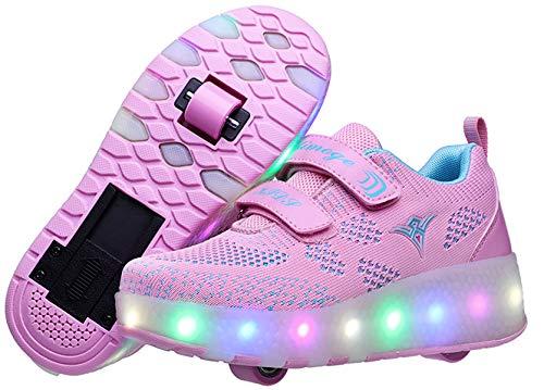 XOMAYI1 Unisex Kinder LED Schuhe mit Rollen Leuchtend Schuhe Doppelt Rollen Ultraleicht Einziehbar Skateboardschuhe Outdoor-Sportarten Gymnastik Mode Rollerblades Sneaker Jungen Mädchen