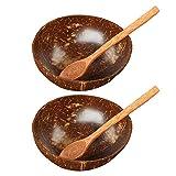 Juego De Cuencos De Coco con Cubiertos De Madera, Juego De 2 Cuencos De Coco Y Cucharas De Madera, Cuencos Naturales, Cuencos Ecológicos Marrón
