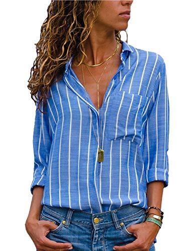 Donna Camicetta Chiffon Blusa Elegante Camicia Manica Lunga Scollo V Camicetta Camicia Bavero Elegante Bluse A Blu IT 38