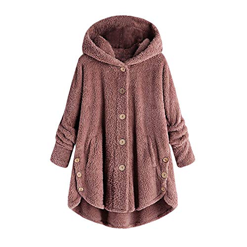 Fleece Coats for Women Plus Size Teddy Jackets Coats Button Down Tunic Loose Outerwear Plush Hoodies Winter Clothes Pink