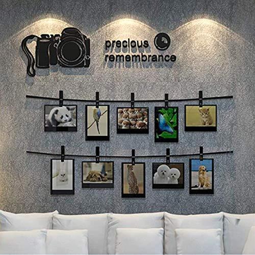 Cámara réflex 3D Pegatinas de pared Foto Pared Sala de estar Sofá Fondo Acrílico Etiqueta de la pared Marco de fotos cálido Decoración para el hogar Arte de la pared 80 * 89 cm