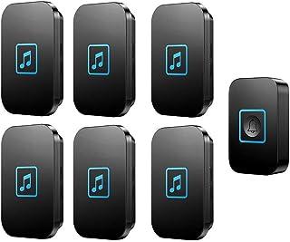 Wireless Doorbell, IP44 Waterproof Doorbells with 300m Range,1 Push Button and 6 Receivers with LED Flash,60 Ringtones,5 V...