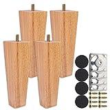 4 patas de sofá de madera, 6 cm/10 cm/15 cm, patas de muebles, de madera de roble, para sofá, armario y cama, con tornillos y deslizadores de fieltro (15 cm)