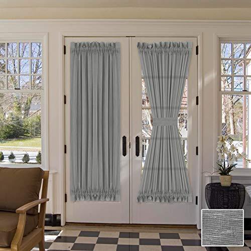 HVERSAILTEX Linen French Door Curtains Privacy Light Reducing Door Curtain with Tieback | Rod Pocket Curtain 1 Panel for Glass Door Feature Open Weave Textured Linen  52quotx72quot  Grey
