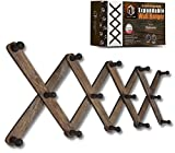 Mercurial Trade Expandable Wooden Coat Rack Hanger – Accordion Wall Mounted Paulownia Wood Hooks – Hand Made Vintage Expending Pegs – Hang Coat, Jacket, Hat, Leash, Towel, Scarf, Bag – Washed Gray