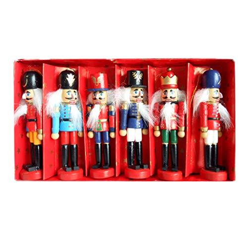 Eliky 6-delige set houten notenkraker pop soldaat miniatuur figuren vintage handwerk pop Nieuwjaar kerstversieringen wooncultuur