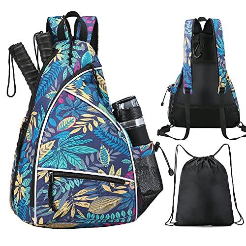 Sucipi Pickleball Bag,Pickleball Backpack for Men Women,Adjustable Pickleball Sling Bag for Pickleball Paddle,with Fence Hook,Water Bottle Holder(Blue Leaf)