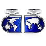 HONEY BEAR Mapa del Mundo Gemelos para Hombres -Acero Inoxidable para Regalo de Boda de Negocios,Azul