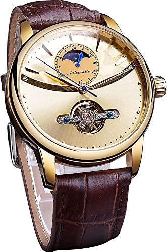 QHG Reloj automático de Lujo a Prueba de Agua Reloj mecánico de Tourbillon para Hombres Multifunción Moon Fase de Pulsera Reloj de Cuero Real Reloj Masculino