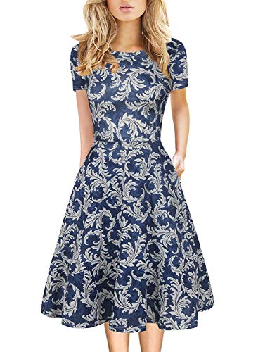 50s Retro Dress for Women Floral Swing Clothes Round Neck Casual Wedding Guest Party Flower Knee Length Dresses 162 (Blue-White  M)