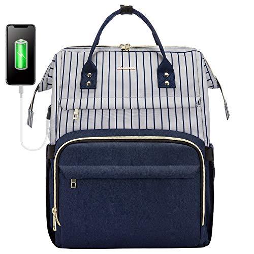 LOVEVOOK Mochila para portátil y mujer, mochila escolar para niñas, adolescentes, con compartimento para portátil de 17 pulgadas, impermeable, con puerto de carga USB, para profesores, universidad