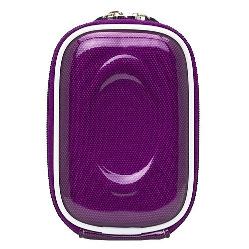 Carbon Fiber Purple Durable Slim Protective Storage Cover Carrying Case with Internal Mesh Pocket with Carabiner clip for Canon Power Shot A490 Point and Shoot Digital Camera and Hand Strap