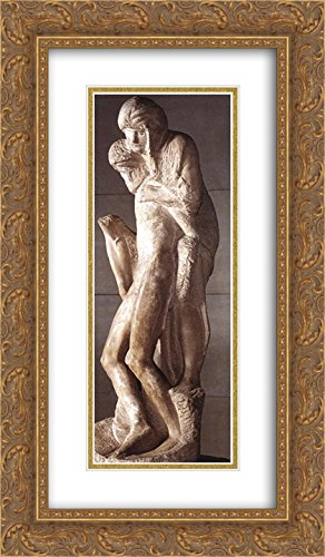 Pietà Rondanini (Unfinished) 14x24 Gold Ornate Frame and Double Matted Museum Art Print by Michelangelo di Lodovico Buonarroti Simoni