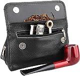 borsa custodia da pipa in vera pelle, per 2 pipe, pressino, filtro, pulitore, preserva la freschezza