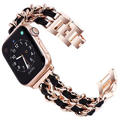KADES bracciale da donna compatibile con Apple Watch SE 40mm Serie 6, Serie 5, Serie 4, 40mm, in acciaio inox compatibile con iWatch Series 1,2,3 38 mm, Oro rosa con pelle nera