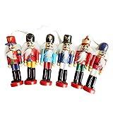 Chalkalon 6 Unids/Set Cascanueces de Navidad 12 CM Cascanueces de Madera Soldado Marioneta Árbol de Navidad Decoración Colgante Inicio Artesanías Adornos