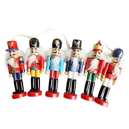 Waroomss 6 stuks notenkraker hout soldaat pop speelgoed hanger ornamenten kinderkamer decoratie met geschenkdoos