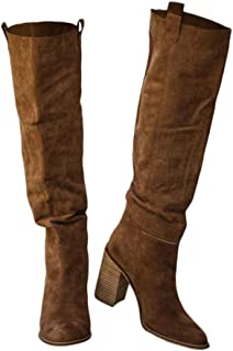 Women's Boots Over The Knee High Faux Suede Chunky Stacked Heel Side Zipper Closed Toe Casual Shoes