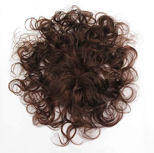 Pieza superior de cabello Cabello humano Toupee Rizado Ondulado Mejor aspecto natural Pinza de pelo de repuesto en Topper Invisible para mujeres con adelgazamiento o base de cabello blanco Suave grue