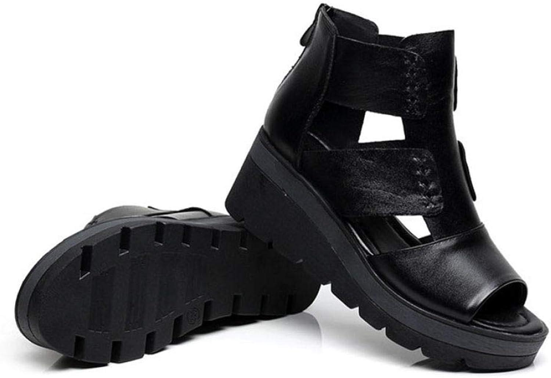 MEIZOKEN Womens Peep Toe Wedge Sandals Fashion Cutout Slip On Sporty shoes Ankle Strap Zipper Gladiator Platform Sandal