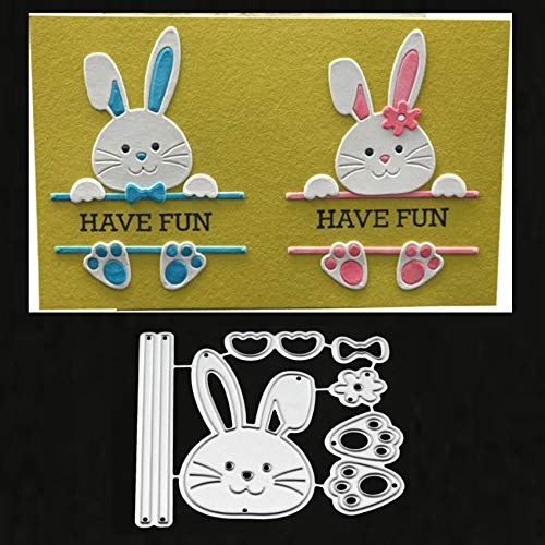 Bow Rabbit Metal Die Cuts, Easter Rabbit Bowtie Bow Cutting Dies Cut Stencils for DIY Scrapbooking Album Decorative Embossing Paper Dies Card Making
