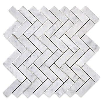 Stone Center Online Carrara White Marble 1x3 Herringbone Mosaic Tile Polished for Kitchen Backsplash Bathroom Flooring Shower Surround Dining Room Entryway Corrido Spa  1 Sheet