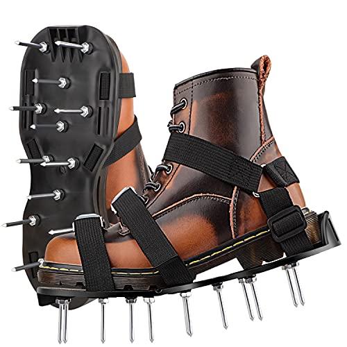 Woochy Lawn Aerator Shoes, Black Foldable Lawn Aerator Spike Shoes Ergonomics Lawn Aerator Shoes
