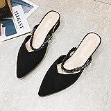 Pantofole per le donne, medie con le donne, ciabatte grossolane,-nero_4.5, scarpe da donna per interni ed esterni