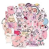Pegatinas creativas de cerdo rosa de bricolaje álbumes de fotos, maleta de coche, portátil, monopatín, 50 unidades