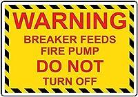 注意サイン-警告ブレーカーフィード消防ポンプはオフにしないでください。通知のためのインチ通りの交通危険屋外の防水および防錆の金属錫の印