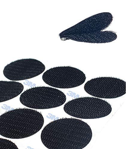 HIMRY 36 pares 38mm Almohadillas Adhesivas Extrafuerte 3M Adhesivo, Redondas de Montaje No Más Clavos, Doble Cara Sólida Ronda Gancho y Bucle Resistentes para Paredes Gafas Metales, Negro KXB5057