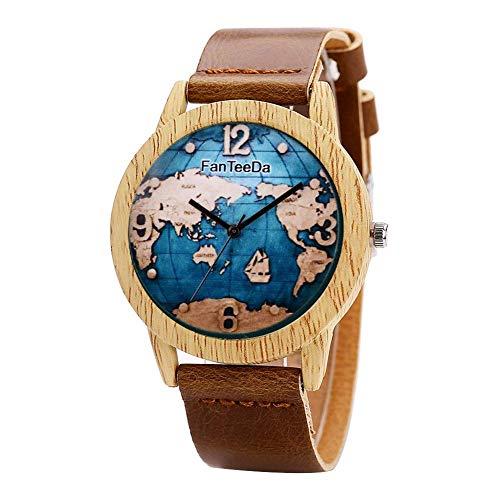 petit un compact Ogquaton Creative World Map Unisexe Bracelet En Cuir PU Montre À Quartz Cadeau Soleil…