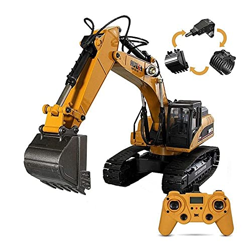 ZCYXQR Excavadora RC de aleación Completa Tractor de construcción de Pala de Control Remoto de función Completa de 23 Canales, Juguete de aleación de ingeniería, 2.4Ghz Simul