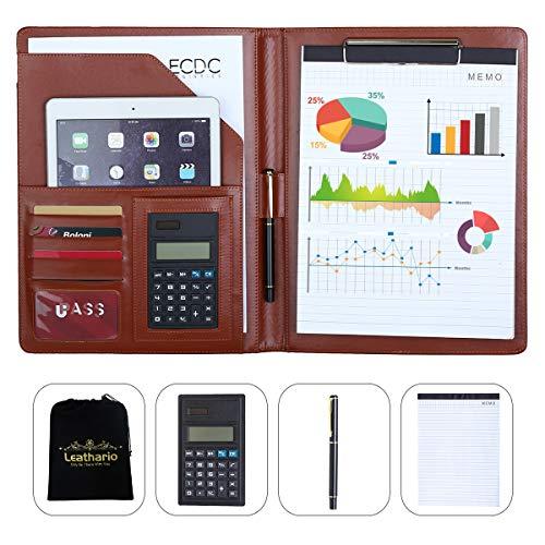 Leren ladder Europa portfolio schrijfmap documentenmap conferentiemap A4 incl. schrijfblok rekenmachine lederlook Braun Braun2019