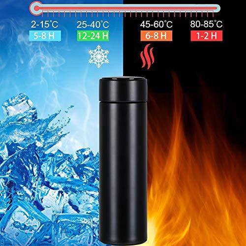 flintronic Bouteille Isotherme en Acier Inoxydable 500ML, Tasse pour Eau Chaude avec Indicateur de Température à Ecran LED, Bouteille Intelligente pour Tasse Etanche (Aucun Filtre Inclus)
