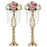 Nuptio 2 Piezas Soporte de Flores Cristal, Centros de Mesa para Bodas, 55cm Alto Elegante ...