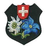 Parches - Trachten escudo de armas suizo flor - negro - 5,2x5,5cm - termoadhesivos bordados aplique para ropa