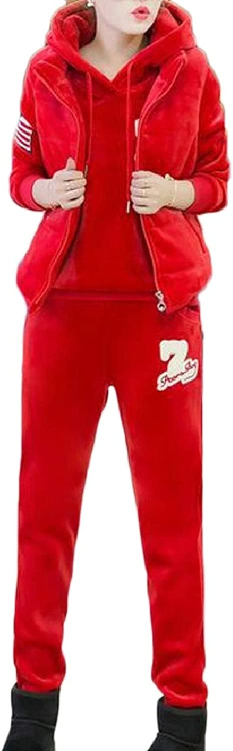 Xswsy XGCA Women's Warm Thicken Sweatshirt and Vest and Pants Set Sport Tracksuit