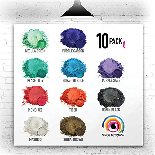 Eye Candy Mica Powder - Pigment Powder 10-Pack Set I - Colorant for Epoxy - Resin - Woodworking - Soap Molds - Candle Making - Slime - Bath Bombs - Nail Polish - Cosmetic Grade - Non-Toxic