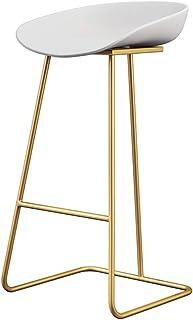 Silla De Desayuno Taburete altos Taburetes de bar con reposapiés para cocina Bar Sillas de comedor tapizadas Bistro Contador Muebles de sala   Asiento de PP blanco y patas de metal dorado