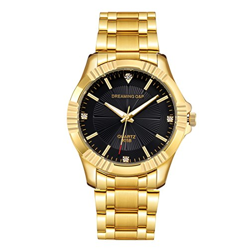 Gold Stainless Steel Men's Casual Watches - fq005 IP Plating Quartz Dress Wristwatches for Man, Black Face