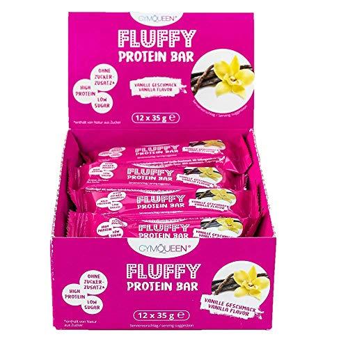 GymQueen Fluffy Protein Riegel 12x35g | High Protein Bar mit 31% Proteingehalt | Proteinriegel ohne Zusatz von Zucker | Eiweißriegel mit nur 118 Kalorien | Vanille