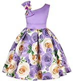 Teenages Girls Knee Length Dresses Birthday Party New Year Wedding One Shoulder Off Sunday Dress(Purple,130)