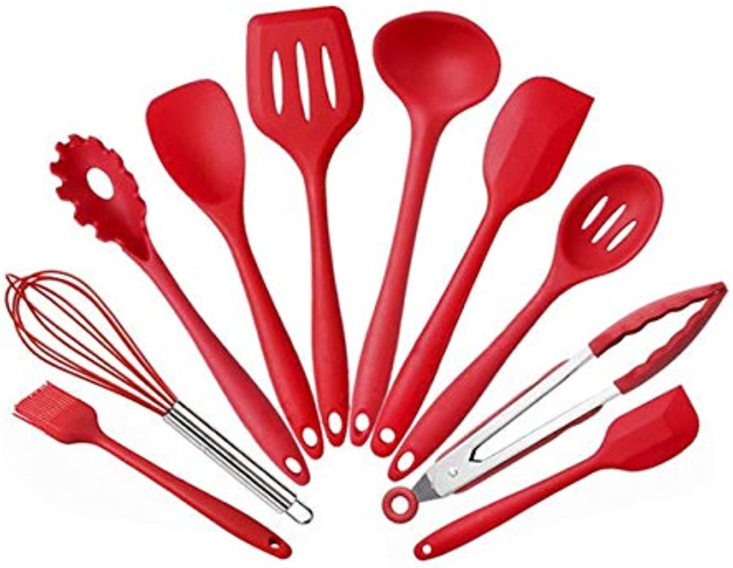 Zoomy Far 10PCS Set Silicone Spatula Nonstick Kitchen Utensil Fashion Cooking Tools Kit Soft Silicone Material High Temperature Resistant   Red